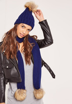 Missguided Faux Fur Pom Pom Hat and Scarf Set Navy