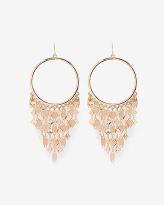 Express Fringe Chain Circle Drop Earrings