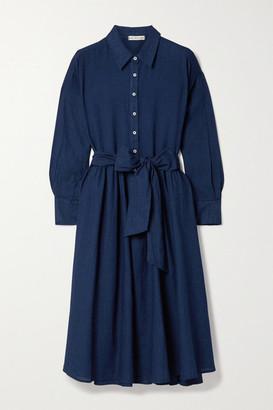 Alex Mill Camilla Belted Linen And Cotton-blend Midi Shirt Dress - Indigo