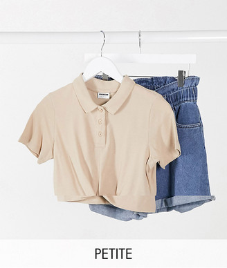 Noisy May Petite cropped polo shirt with twist front in camel