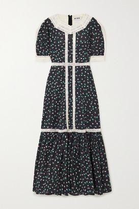 Rixo Ash Crochet-trimmed Floral-print Cotton Maxi Dress - Black
