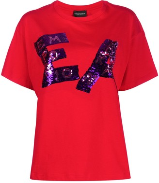 Emporio Armani sequined logo T-shirt