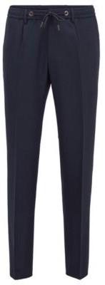 HUGO BOSS Slim Fit Pants In Virgin Wool With Drawstring Waist - Dark Blue