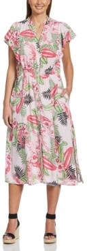Rafaella Bold Floral Print Flutter Sleeve Dress