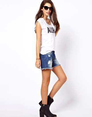Only Rip Wash Denim Shorts-Blue