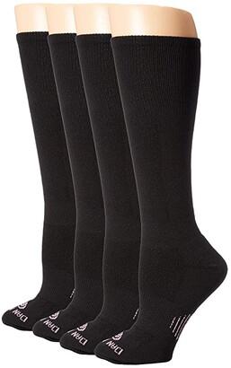 Dan Post Cowgirl Certified DP Lites Over the Calf Socks 4-Pack (Black) Women's Quarter Length Socks Shoes