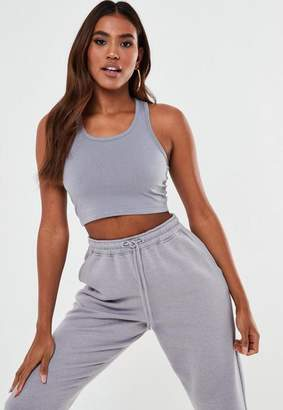 Missguided Light Gray Basic Racer Back Crop Tank Top