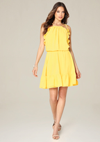 Bebe Blouson Halter Look Dress