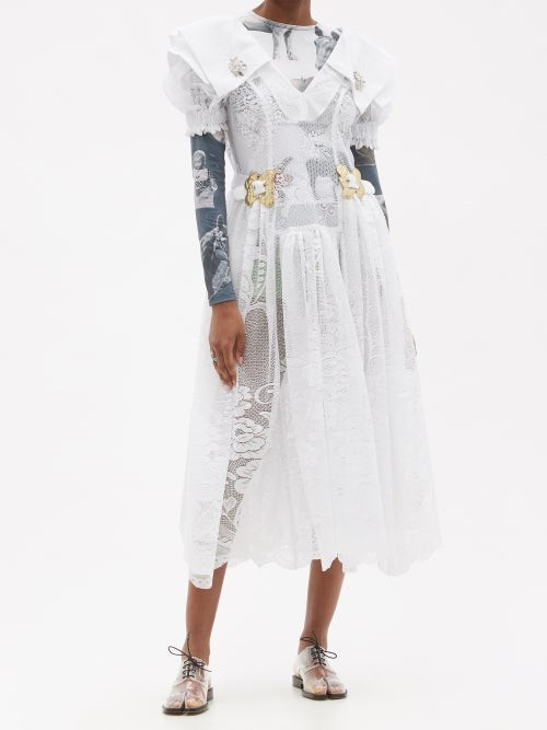 Thumbnail for your product : Chopova Lowena Exaggerated-collar Lace Midi Dress - White