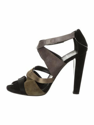 Pierre Hardy Suede Peep-Toe Sandals Olive