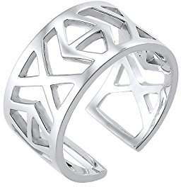 Elli Women's 925 Sterling Silver Ikat Cut Out Adjustable Ring