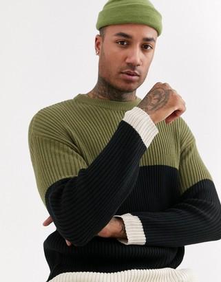 Bershka color block sweater in khaki