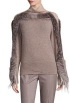 Agnona Fur-Sleeve Cashmere Turtleneck Sweater