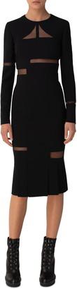 Akris Tulle Cutout Long Sleeve Double Face Wool Blend Midi Sheath Dress