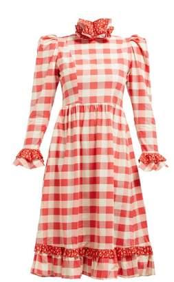Batsheva Ruffle Cotton Prairie Midi Dress - Womens - Red White