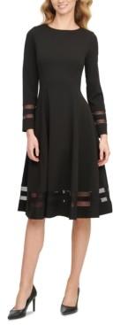 Calvin Klein Illusion-Striped A-Line Dress