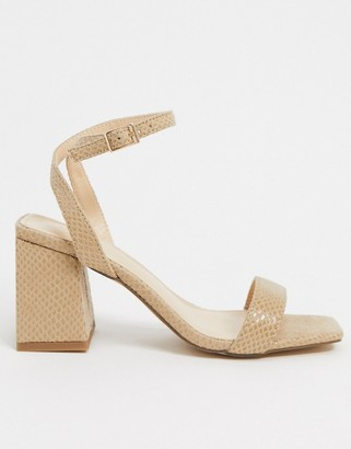 Pimkie snake effect mid sandals in beige