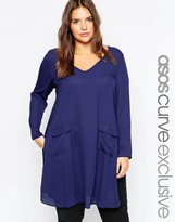 Asos Tunic with Deep V and Pocket Detail