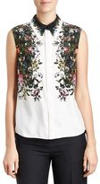 Erdem Sleeveless Floral Silk Blouse, White/Black