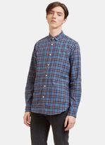 Saint Laurent Men's Checked Flannel Shirt In Blue