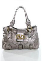 Valentino Bronze Metallic Leather Gold Tone Catch Shoulder Handbag EVHB