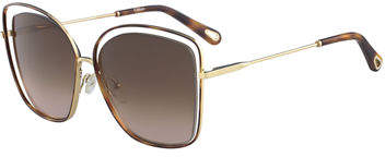 Chloé Poppy Cutout Metal Square Sunglasses