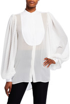 Givenchy Georgette Chevron-Sleeve Blouse w/ Puffy Sleeves -White