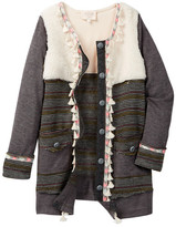 Hannah Banana Mixed Media Jacket With Faux Fur & Tassel Detail (Big Girls)