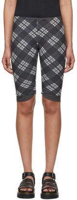 ALEXACHUNG Grey Mesh Check Biker Shorts