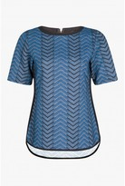 Select Fashion Fashion Womens Blue Chevron Jacquard Tee - size 6