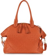 Forzieri Orange Woven Leather Bowler Bag