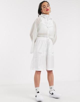 Nike Swoosh Cropped Hooded White Woven Jacket