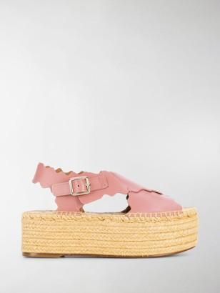 Chloé Lauren raffia platform sandals