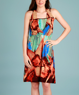 Rust & Green Abstract Layered Dress