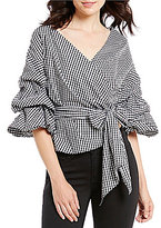 Gianni Bini Tabby Gingham Tiered Ruched Sleeve Tie Waist Wrap Blouse