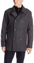 Kenneth Cole Reaction Men's Classic Peacoat with Bib and Epaulettes