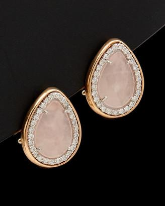 Italian Gold 14K Rose Gold 6.25 Ct. Tw. Diamond & Pink Quartz Clip Earrings