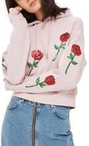 Topshop Women's Sequin Rose Applique Hoodie