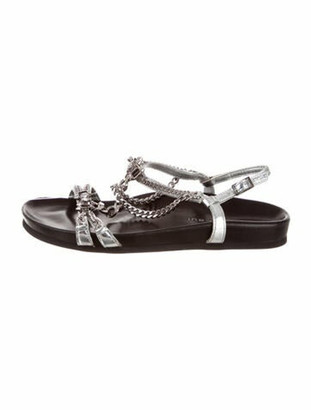 Barbara Bui Chain-Link Accent Leather Sandals Silver
