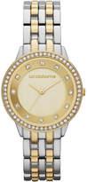 Liz Claiborne Womens Two-Tone Crystal-Accent Bracelet Watch