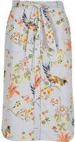 River Island Womens Blue stripe floral print tie waist midi skirt