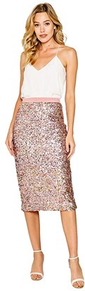 Lavender Brown Stretch Sequin Midi Skirt with Zip Back (Candy Multi) Women's Skirt