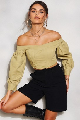 boohoo Denim Off Shoulder Puff Sleeve Crop Top