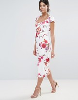Paper Dolls Floral Print Midi Pencil Dress