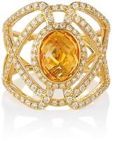 Effy Jewelry Effy Geo 14K Yellow Gold Oval Citrine and Diamond Ring, 2.96 TCW