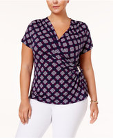 Charter Club Plus Size Printed Faux-Wrap Top, Created for Macy's