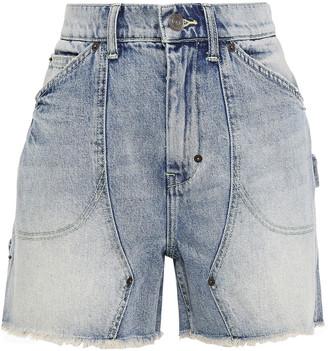 Current/Elliott The Goldmine Frayed Faded Denim Shorts