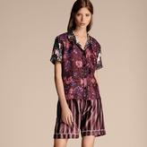 Burberry Short-sleeved Floral Print Silk Pyjama-style Shirt