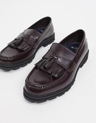 Ben Sherman chunky tassel loafers in bordo leather