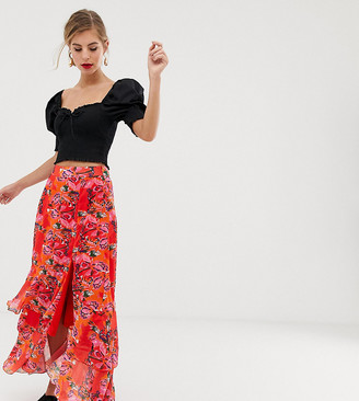 Dusty Daze maxi skirt with thigh split in floral